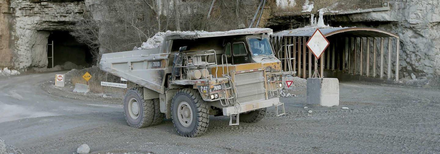 Large truck entering underground mine at Linwood Mining