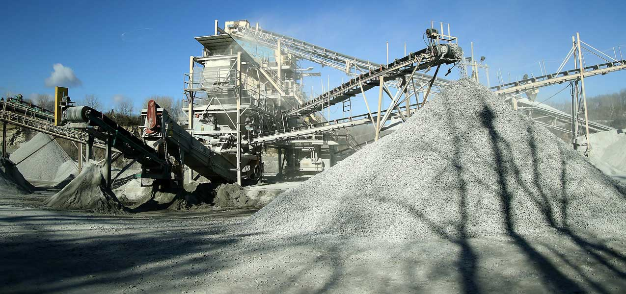 Wide view of Linwood Mining's limestone sorting and conveyor system