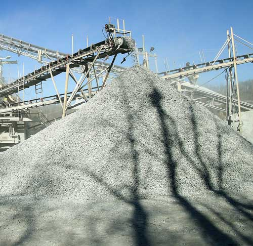 Large pile of sifted limestone at Linwood Mining