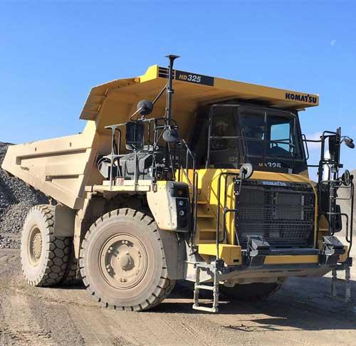 Heavy equipment for hauling limestone at Linwood Mining